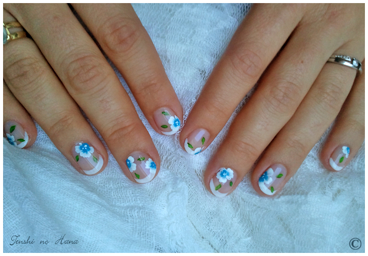 Guest French Mariage Fleurs Bleues Nature Nails Nails Art