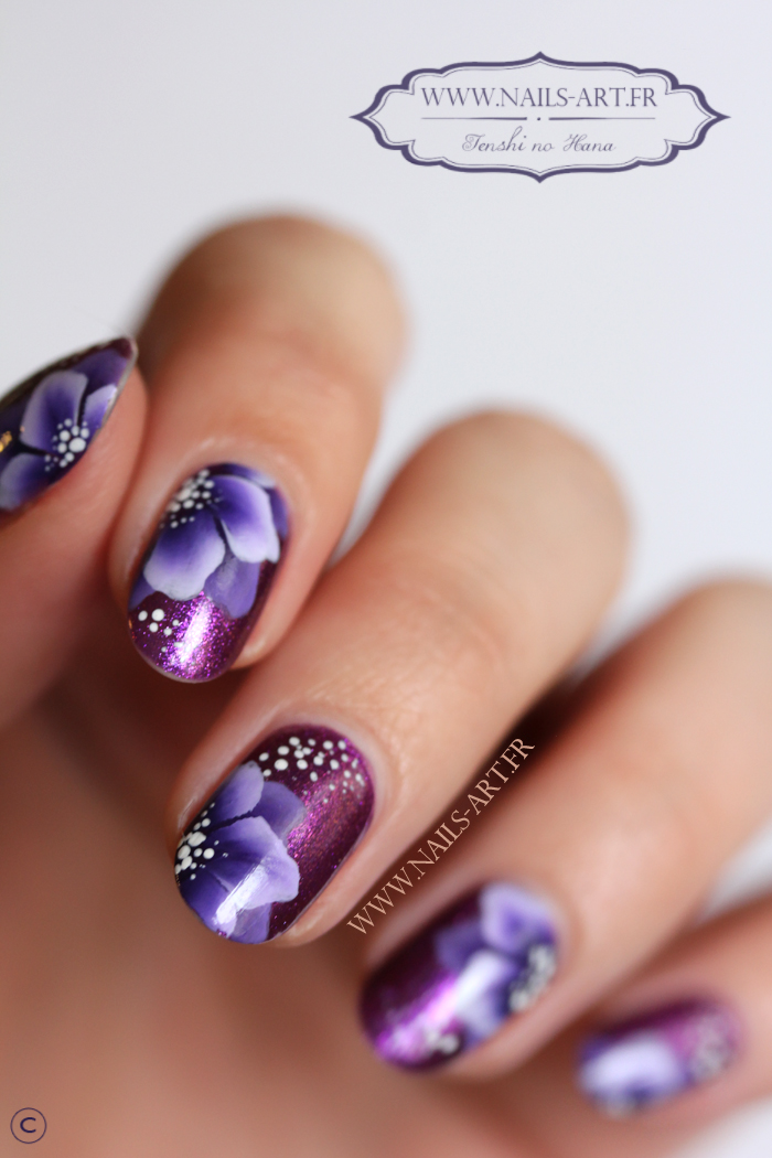 Les violettes (one stroke) | Nature Nails Nails Art